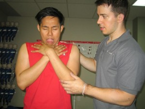 Encouraging a choking victim to cough